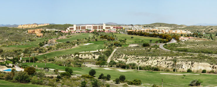 Valle del Este Golf Course showing the hotel, 10th, 17th, 18th holes and driving range