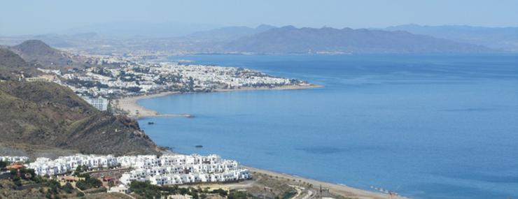 Am elevated view of Costa Macenas, Almeria, Andalucia show Mediterranean beaches
