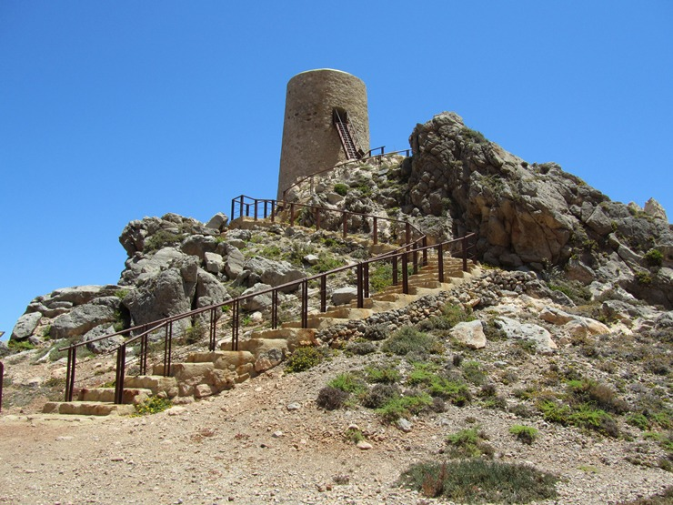 El Pirulico Tower a 14th century watchtower on Costa Macenas, Almeria, Andalucia
