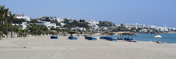 Sunbeds & Parasols on Mojacar Playa's Golden Sands